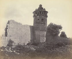 Ruins of Vijianuggur [Vijayanagara]. near Calamapoor [Kamalapuram]. The wall of the Harem and Tower [Octagonal Watchtower]